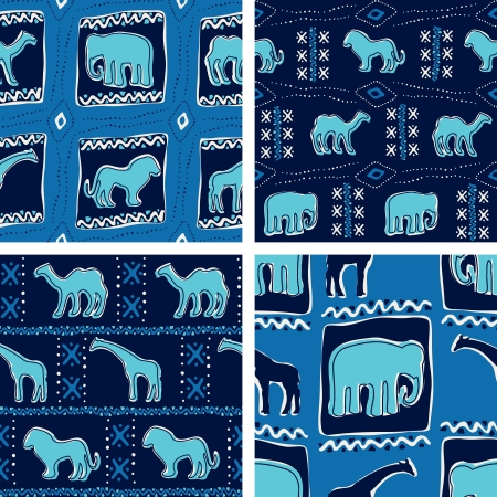 Four seamless patterns inspired by African textiles  The tiles can be combined seamlessly  Graphics are grouped and in several layers for easy editing  The file can be scaled to any size  Иллюстрация