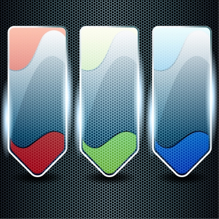 Three transparent, shiny glass banners in green, blue, and red  Graphics are grouped and in several layers for easy editing  The file can be scaled to any size  Stock Vector - 14221695