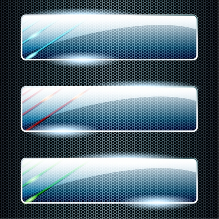 Three transparent, shiny glass banners in green, blue, and red  Graphics are grouped and in several layers for easy editing  The file can be scaled to any size  Ilustrace