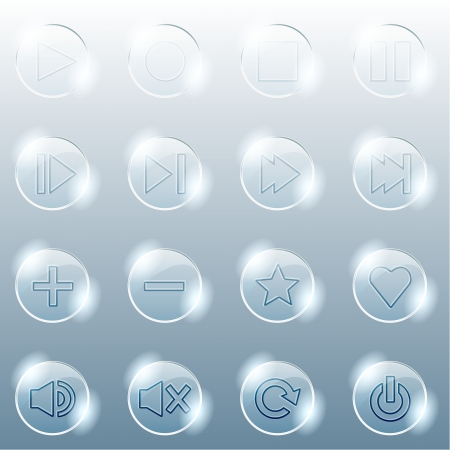 pause button: Set of 16 shiny glass buttons for a control panel  Graphics are grouped and in several layers for easy editing  The file can be scaled to any size