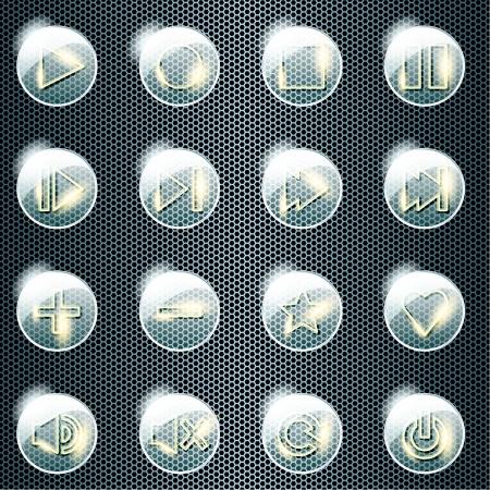 control panel: Set di 16 pulsanti di vetro lucido per un controllo del pannello di grafica e sono raggruppati in diversi livelli per un facile montaggio Il file pu� essere scalata a qualsiasi dimensione