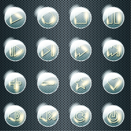 Set of 16 shiny glass buttons for a control panel  Graphics are grouped and in several layers for easy editing  The file can be scaled to any size  Vector