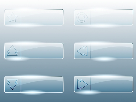 Six transparent, shiny glass buttons  Graphics are grouped and in several layers for easy editing  The file can be scaled to any size  Illustration