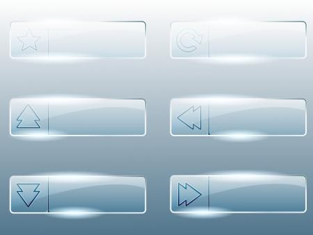 Zes transparant, glanzend glas knoppen Graphics zijn gegroepeerd en in verschillende lagen voor eenvoudige bewerking Het bestand kan worden geschaald naar elke grootte