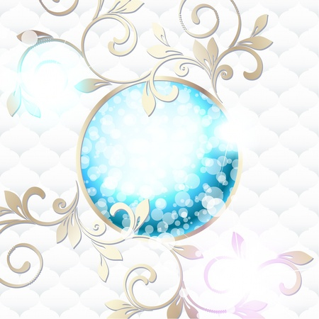 swirl: Elegant bright blue emblem inspired by Rococo era designs  Graphics are grouped and in several layers for easy editing  The file can be scaled to any size