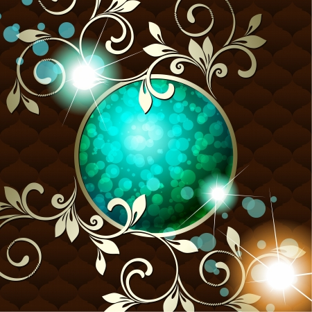 metallic background: Elegant deep green emblem inspired by Rococo era designs  Graphics are grouped and in several layers for easy editing  The file can be scaled to any size  Illustration