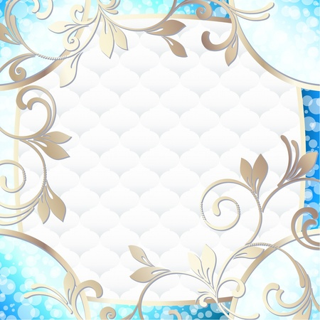 Elegant bright blue frame inspired by Rococo era designs  Graphics are grouped and in several layers for easy editing  The file can be scaled to any size  Illustration