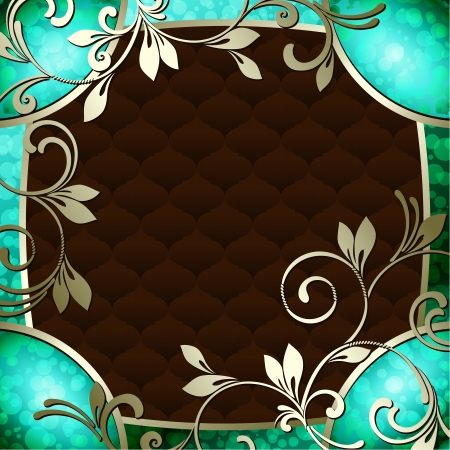 baroque border: Elegant deep green frame inspired by Rococo era designs  Graphics are grouped and in several layers for easy editing  The file can be scaled to any size
