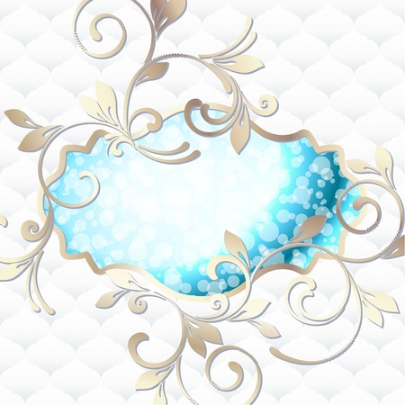 Elegant bright blue label inspired by Rococo era designs  Graphics are grouped and in several layers for easy editing  The file can be scaled to any size