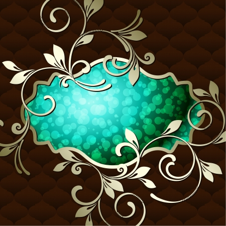 baroque border: Elegant deep green label inspired by Rococo era designs  Graphics are grouped and in several layers for easy editing  The file can be scaled to any size