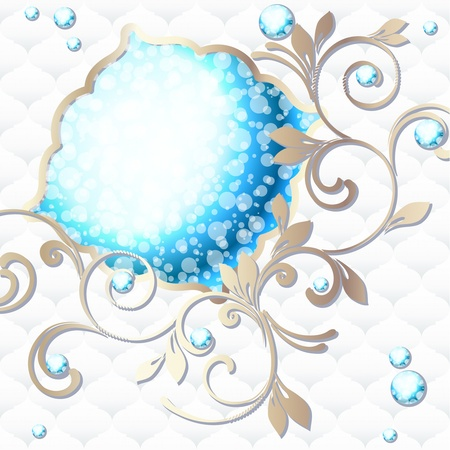 Elegant bright blue emblem inspired by Rococo era designs  Graphics are grouped and in several layers for easy editing  The file can be scaled to any size  Vector