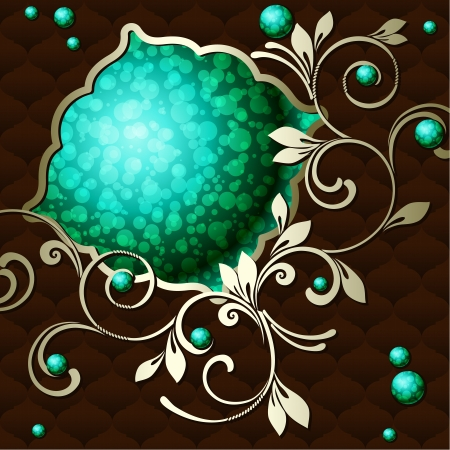 Elegant deep green emblem inspired by Rococo era designs  Graphics are grouped and in several layers for easy editing  The file can be scaled to any size  Illusztráció