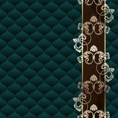 エレガントな濃い緑色の背景ロココ時代のデザインに触発さ。グラフィックをグループ化および簡単な編集のためのいくつかの層。ファイルは、任  イラスト・ベクター素材