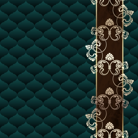 Elegant dark green background inspired by Rococo era designs. Graphics are grouped and in several layers for easy editing. The file can be scaled to any size.