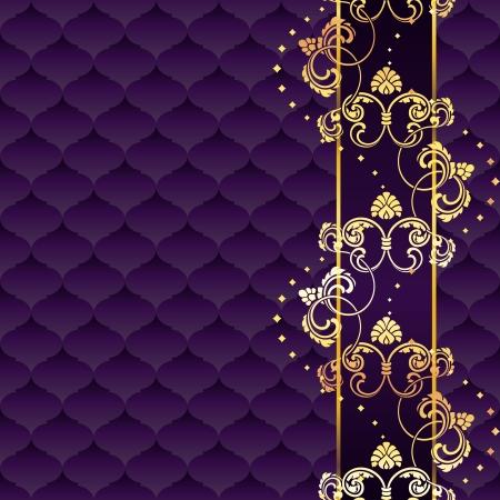 Elegante gouden en paarse achtergrond geïnspireerd door de Rococo tijdperk ontwerpen. Graphics zijn gegroepeerd en in meerdere lagen voor eenvoudige bewerking. Het bestand kan worden geschaald naar elke grootte. Vector Illustratie