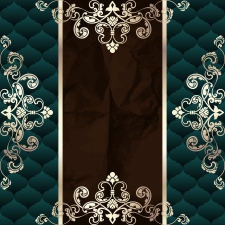 Elegante donkere groene banner geïnspireerd door de Rococo tijdperk ontwerpen. Graphics zijn gegroepeerd en in meerdere lagen voor eenvoudige bewerking. Het bestand kan worden geschaald naar elke grootte.