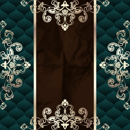 Elegant dark green banner inspired by Rococo era designs. Graphics are grouped and in several layers for easy editing. The file can be scaled to any size. Illustration