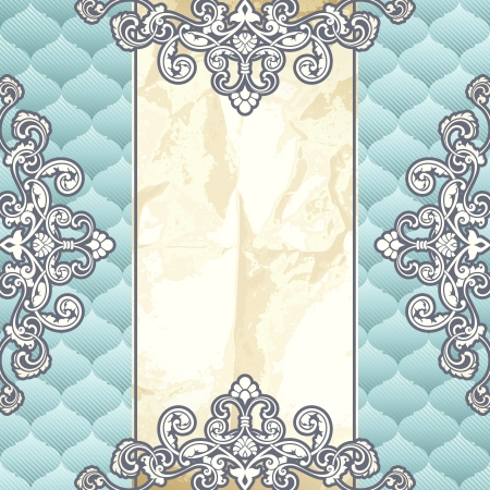 18th century: Elegant pale blue banner inspired by Rococo era designs. Graphics are grouped and in several layers for easy editing. The file can be scaled to any size.