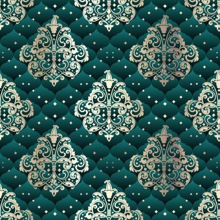 로코코 시대의 디자인에 의해 영감을 녹색 원활한 패턴입니다. 타일을 원활 하 게 결합 할 수 있습니다. 그래픽은 쉽게 편집 할 그룹화 및 여러 레 일러스트