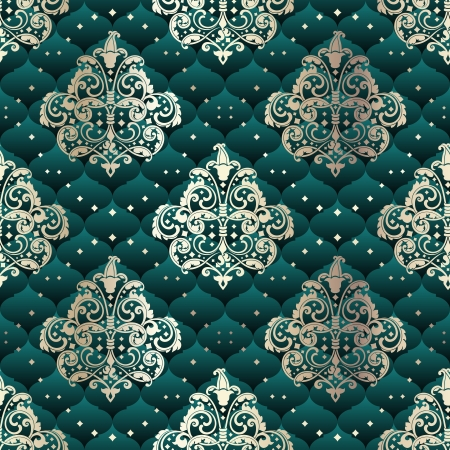 brocade: Green seamless pattern inspired by Rococo era designs.  The tiles can be combined seamlessly. Graphics are grouped and in several layers for easy editing. The file can be scaled to any size.