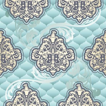 french renaissance: Patr�n sin fisuras polvo azul inspirado en los dise�os de la �poca rococ�. Los azulejos se pueden combinar a la perfecci�n. Gr�ficos y se agrupan en varias capas para una f�cil edici�n. El archivo se puede escalar a cualquier tama�o. Vectores