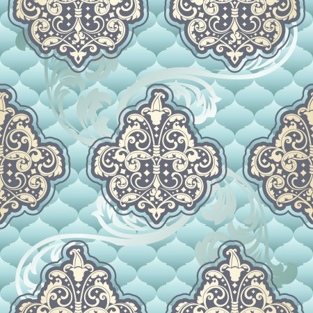 Seamless powder blue pattern inspired by Rococo era designs.  The tiles can be combined seamlessly. Graphics are grouped and in several layers for easy editing. The file can be scaled to any size. Ilustração