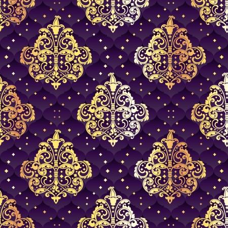 Purple naadloze patroon geïnspireerd door Rococo tijdperk ontwerpen. De tegels kunnen naadloos worden gecombineerd. Graphics zijn gegroepeerd en in meerdere lagen voor eenvoudige bewerking. Het bestand kan worden geschaald naar elke grootte. Stock Illustratie