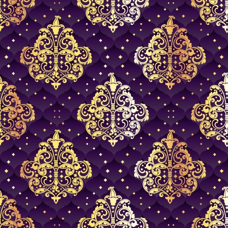Purple seamless pattern inspired by Rococo era designs.  The tiles can be combined seamlessly. Graphics are grouped and in several layers for easy editing. The file can be scaled to any size. Vector