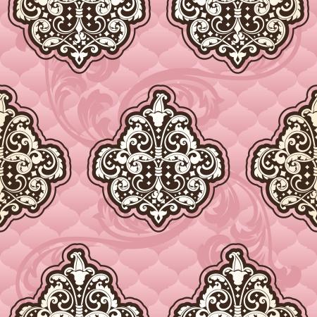 Naadloze roze patroon geïnspireerd door de Rococo tijdperk ontwerpen. De tegels kunnen naadloos worden gecombineerd. Graphics zijn gegroepeerd en in meerdere lagen voor eenvoudige bewerking. Het bestand kan worden geschaald naar elke grootte.
