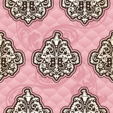 Seamless pink pattern inspired by Rococo era designs.  The tiles can be combined seamlessly. Graphics are grouped and in several layers for easy editing. The file can be scaled to any size. Vector