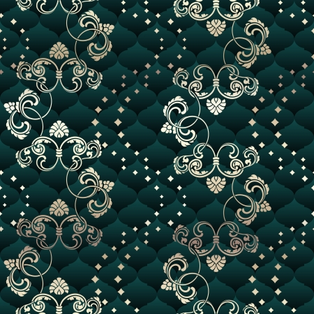 green seamless pattern inspired by Rococo era designs.  The tiles can be combined seamlessly. Graphics are grouped and in several layers for easy editing. The file can be scaled to any size. Vector