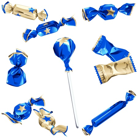Set of different kinds of candy in blue and gold wrappers with a star.  Vector