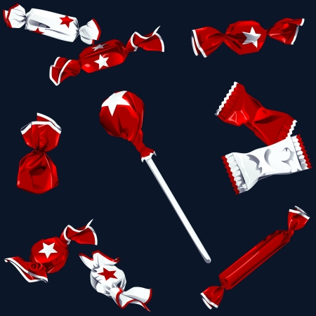 Set of different kinds of candy in red and white wrappers with a star.  Vector