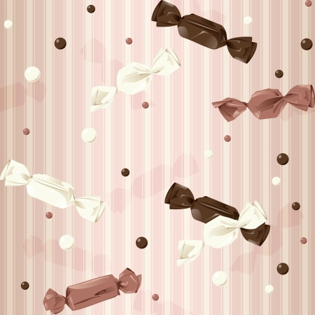 tempting: Vintage seamless pattern in pink, with wrapped candy and dots. The tiles can be combined seamlessly.