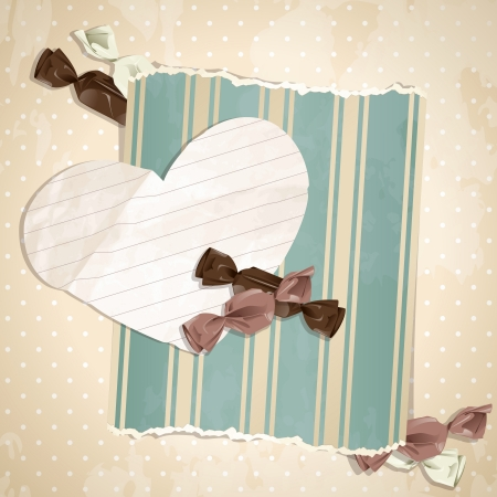 Romantic beige vintage illustration with paper heart and candy.  Vector