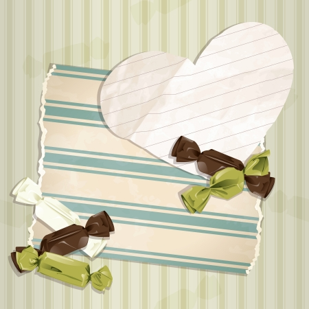 Romantic green vintage illustration with paper heart and candy.  Vector