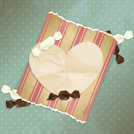 Romantic blue vintage illustration with paper heart and candy.  Vector