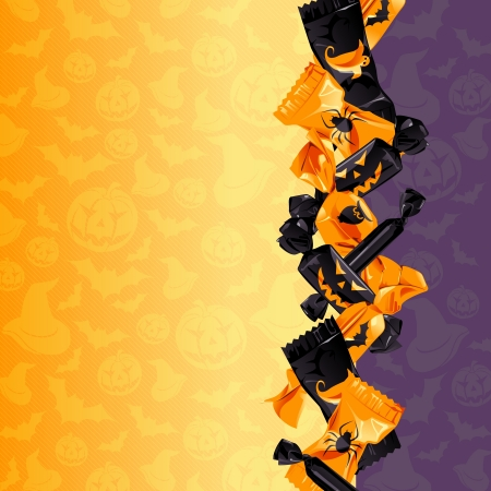 flavorful: Orange and purple Halloween background with candy  Graphics are grouped and in several layers for easy editing  The file can be scaled to any size