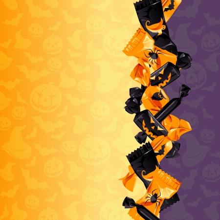 Oranje en paarse Halloween achtergrond met snoep Graphics zijn gegroepeerd en in verschillende lagen voor eenvoudige bewerking Het bestand kan worden geschaald naar elke grootte
