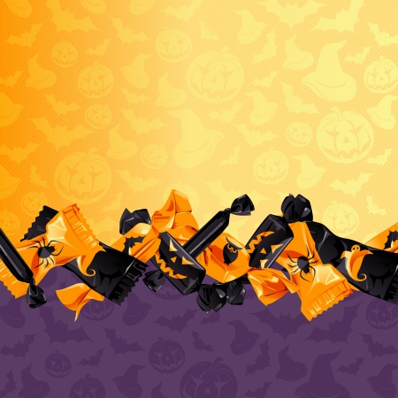 halloween background: Orange and purple Halloween background with candy  Graphics are grouped and in several layers for easy editing  The file can be scaled to any size