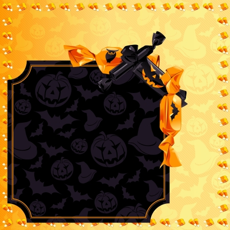 candy corn: Orange and black Halloween banner with candy  Graphics are grouped and in several layers for easy editing  The file can be scaled to any size  Illustration