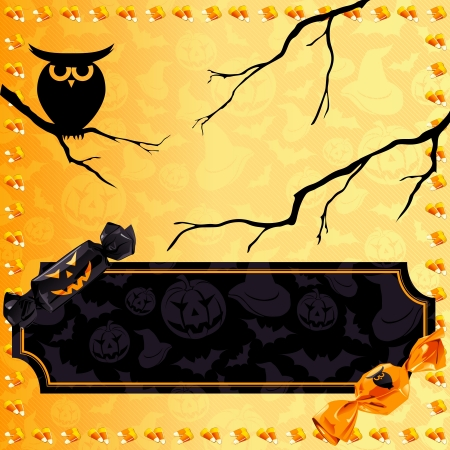 Orange and black Halloween banner with candy and an owl  Graphics are grouped and in several layers for easy editing  The file can be scaled to any size  Vector