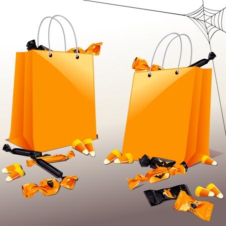 treats: Naranja y negro con gr�ficos dulces de Halloween trick-or-treat bolsitas y se agrupan en varias capas para editar f�cilmente el archivo se puede escalar a cualquier tama�o