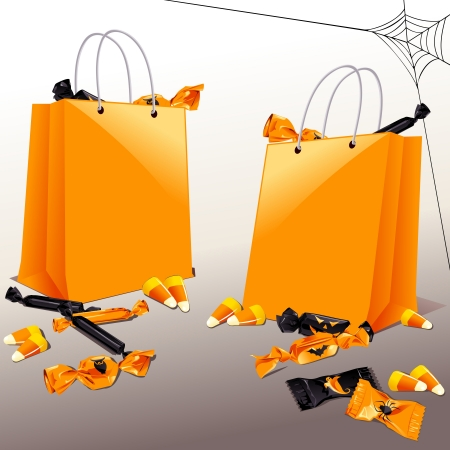 Orange and black Halloween candy with trick-or-treat baggies  Graphics are grouped and in several layers for easy editing  The file can be scaled to any size  Vector