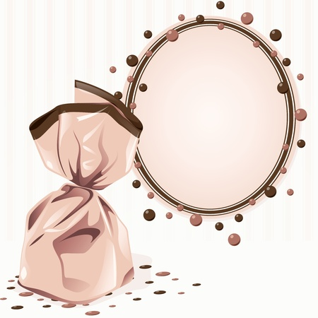chocolate truffle: Elegant pink Victorian frame with a wrapped piece of candy. Graphics are grouped and in several layers for easy editing. The file can be scaled to any size.