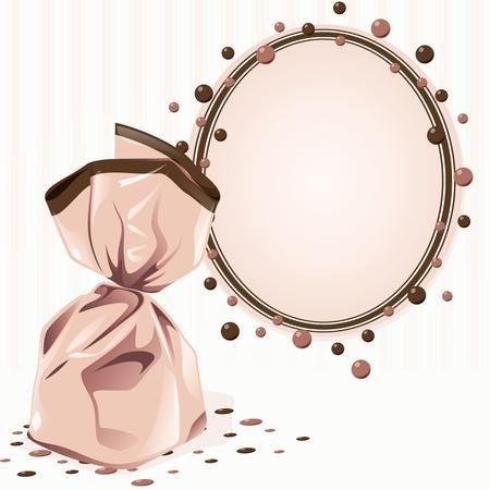 ovalo: Elegante marco rosado victoriano con un pedazo de caramelo envuelto. Los gráficos se agrupan y en varias capas para editar fácilmente. El archivo se puede escalar a cualquier tamaño.