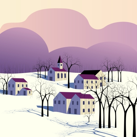 Wintry landscape of a small village, in early morning colors. Graphics are grouped and in several layers for easy editing. The file can be scaled to any size. Vector