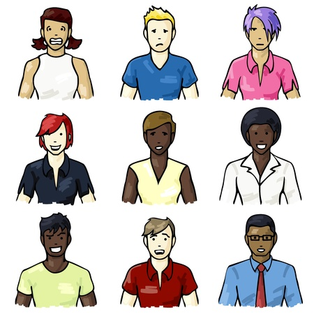 biracial: Set of icons of people with different facial expressions with a hand drawn look. Graphics are grouped and in several layers for easy editing. The file can be scaled to any size.