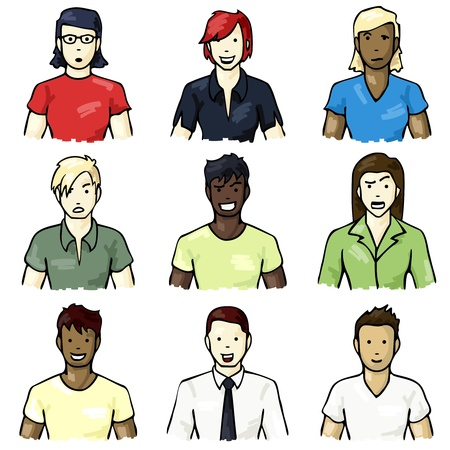 biracial: Set of icons of people with different facial expressions with a hand drawn look.