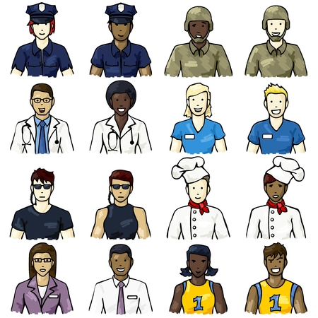Set of icons with a hand drawn look, of people representing different professions  Graphics are grouped and in several layers for easy editing  The file can be scaled to any size